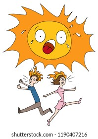 An image of a Hot Summer Sun People Running.