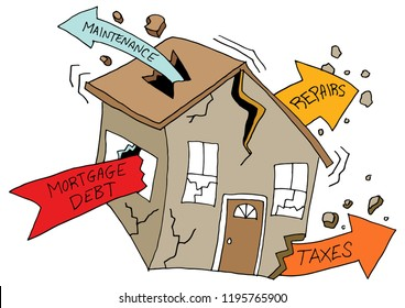 An image of a House Damaged By Debt Maintenance Repair Tax Costs.