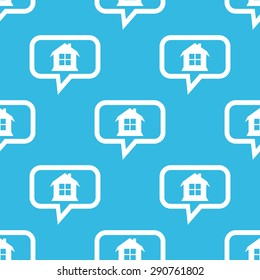 Image of house with window in chat bubble, repeated on blue background