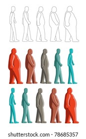 Image of human figure change between fat to thin. All the color use global color and can be easily edited