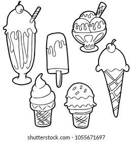 An image of a Ice Cream Cartoon Set Black and White.