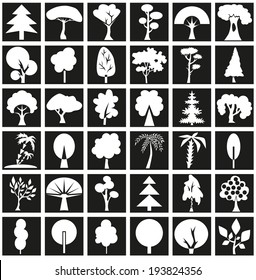 The image icons with different types and forms of trees.