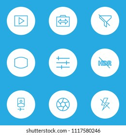 Image icons line style set with hdr off, monitor, multimedia and other switch cam elements. Isolated vector illustration image icons.
