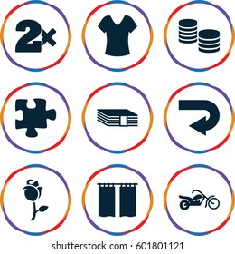 image icons set. Set of 9 image filled icons such as shirt, Casino bet, puzzle, rose, curtain, motorcycle, money