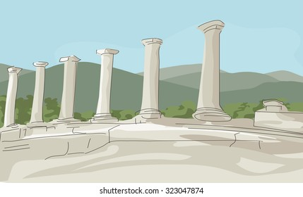 image illustrating a beauty of remnants of antique columns at green mountains landscape