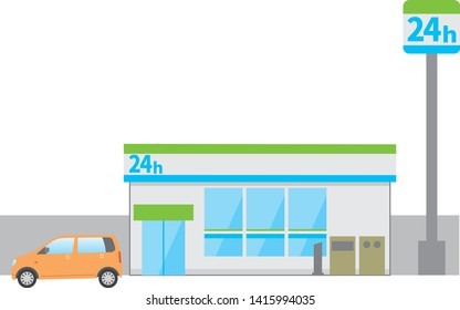 Image illustration of a 24hour store. (Daytime)