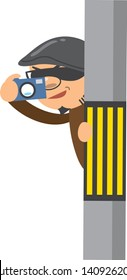 Image illustration being taken voyeur with a camera from a telephone pole