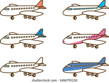 Image illustration of a cute airplanes. Color variations
