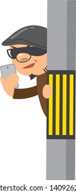Image illustration doing voyeur with smartphone from telephone pole