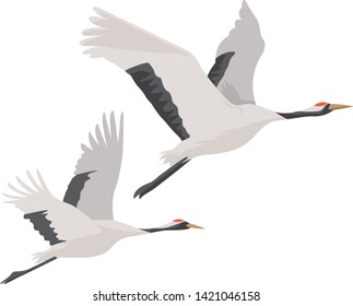 Image illustration of a flying crane. (2 birds)