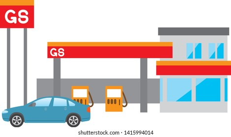 Image illustration of gas station and car