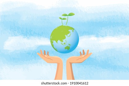 Image illustration of hand and sky holding the earth with sprout