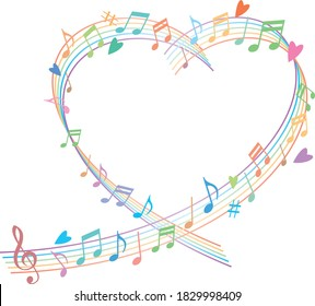 Image illustration of heart-shaped staff and musical notes