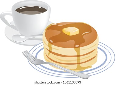 Image illustration of hot cake and hot coffee
