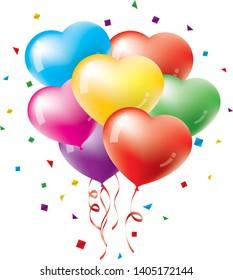 Image illustration of many heart-shaped balloons