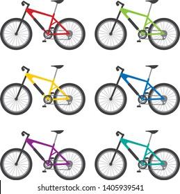 Image illustration of a mountain bike. Color variations