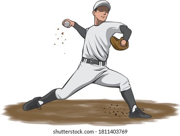 Image illustration of a pitcher throwing a ball from the mound (baseball player) (side)