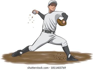 投手がマウンド(野球選手)からボールを投げるイラストの画像