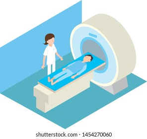 Image illustration to receive MRI examination in hospital