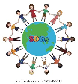 Image illustration of SDGs where children of various races are holding hands