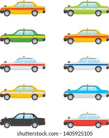Image illustration of a taxi. Color variations
