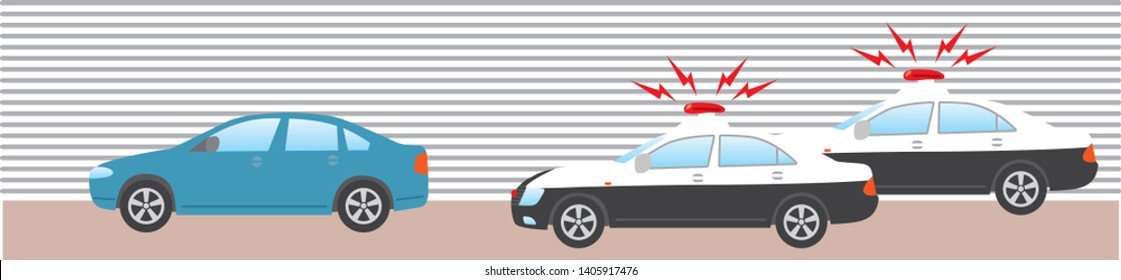 Image illustration that two police cars are chasing a car