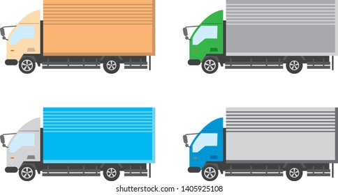 Image illustration of a truck. Color variations