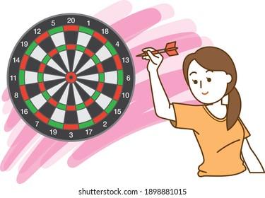 矢の的を狙う女性のイラスト
