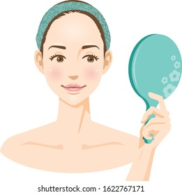 Image illustration of a woman's face looking in the mirror (beauty)