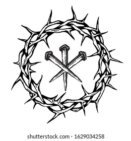 image of jesus nails with thorn crown isolated on white background