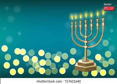 Image of jewish holiday Hanukkah background with Golden menorah and burning candles on green dark background. vector illustration