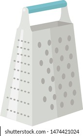 image of a kitchen tool - quadrilateral grater with a blue handle