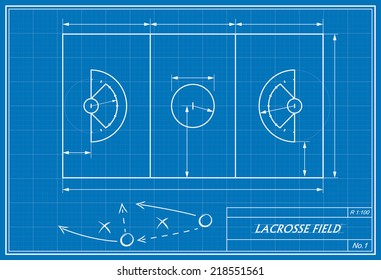 image of lacrosse field on blueprint. Transparency used.