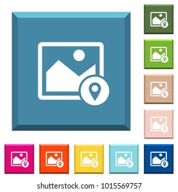 Image landmark GPS map location white icons on edged square buttons in various trendy colors