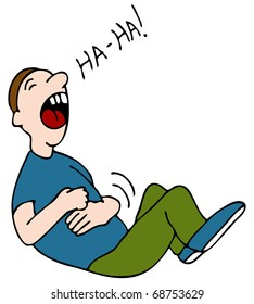 An image of a laugh hysterically while hold his stomach.