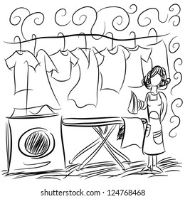 An image of a laundry service drawing.