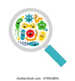 Image of magnifier and cute funny bacterias (germs) in flat cartoon style isolated on white background. Art vector illustration.