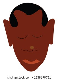 An image of a man with dark brown skin tone with a buzz hair cut vector color drawing or illustration