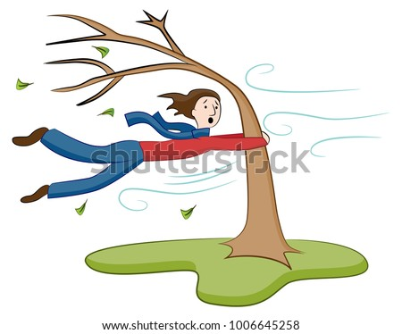 An image of a Man Holding On To Tree on Windy Day.