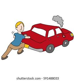 An image of a Man Pushing Broken Down Car.