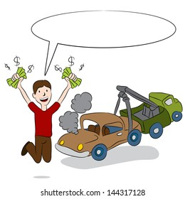 An image of a man selling his old car to a tow truck driver.