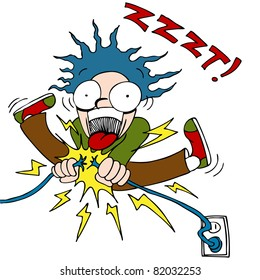 An image of a man trying to fix an electrical wire and getting shocked.