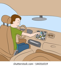 An image of a man using his car GPS navigation system.