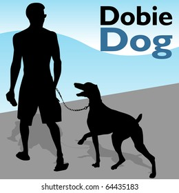 An image of a man walking his doberman pinscher dog.