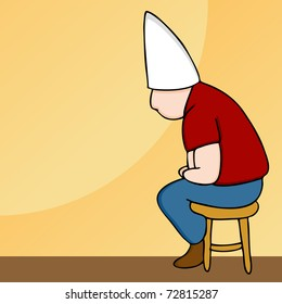 An image of a man wearing a dunce cap sitting on a stool.