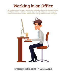 Image of a man working space, vector illustration worker sitting on a chair in front of a table with bad posture and intense eyes. Office space, table, chair, monitor.