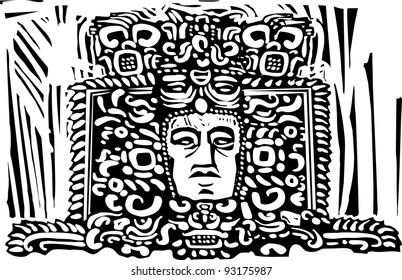 Image of a Mayan king from a ruined stele.