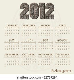 Image of a Mayan themed 2012 calendar.