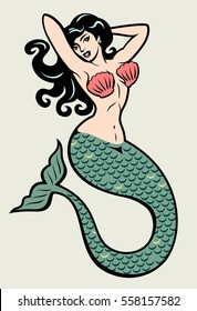 The image of a mermaid in the traditional style of Old school tattoo pin-up