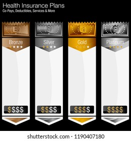 An image of a Metallic Vertical Banner Chart Health Insurance Tiered Plans.
